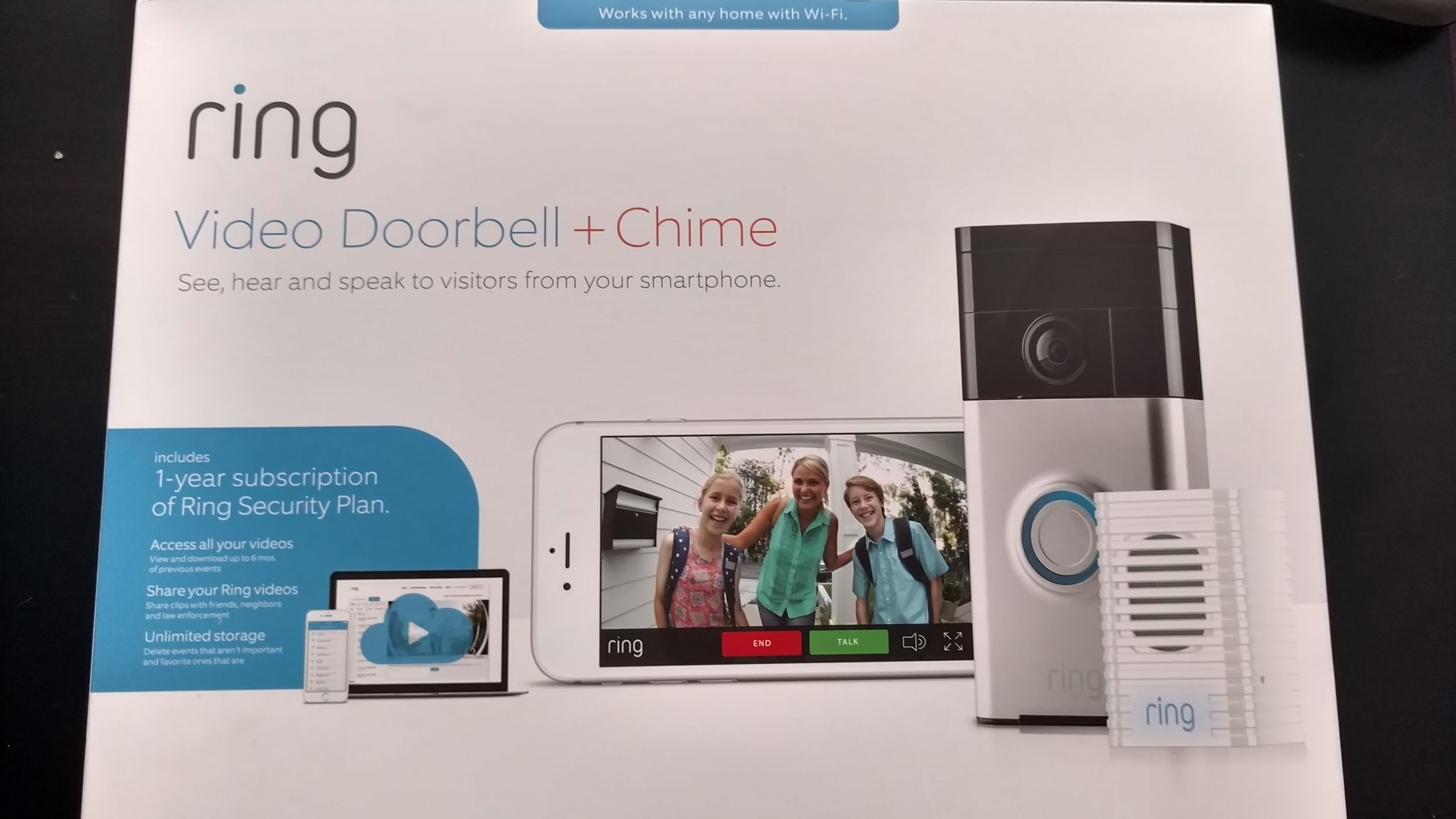 Ring Wi-Fi Enabled Video Doorbell and Wi-Fi Enabled Chime. Includes 1 Year Cloud Video Recording Subscription. by