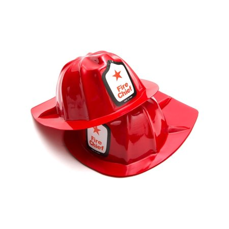 Set of 12 Childs Plastic Fireman Costume Fire Chief Helmets - Firemen Costumes