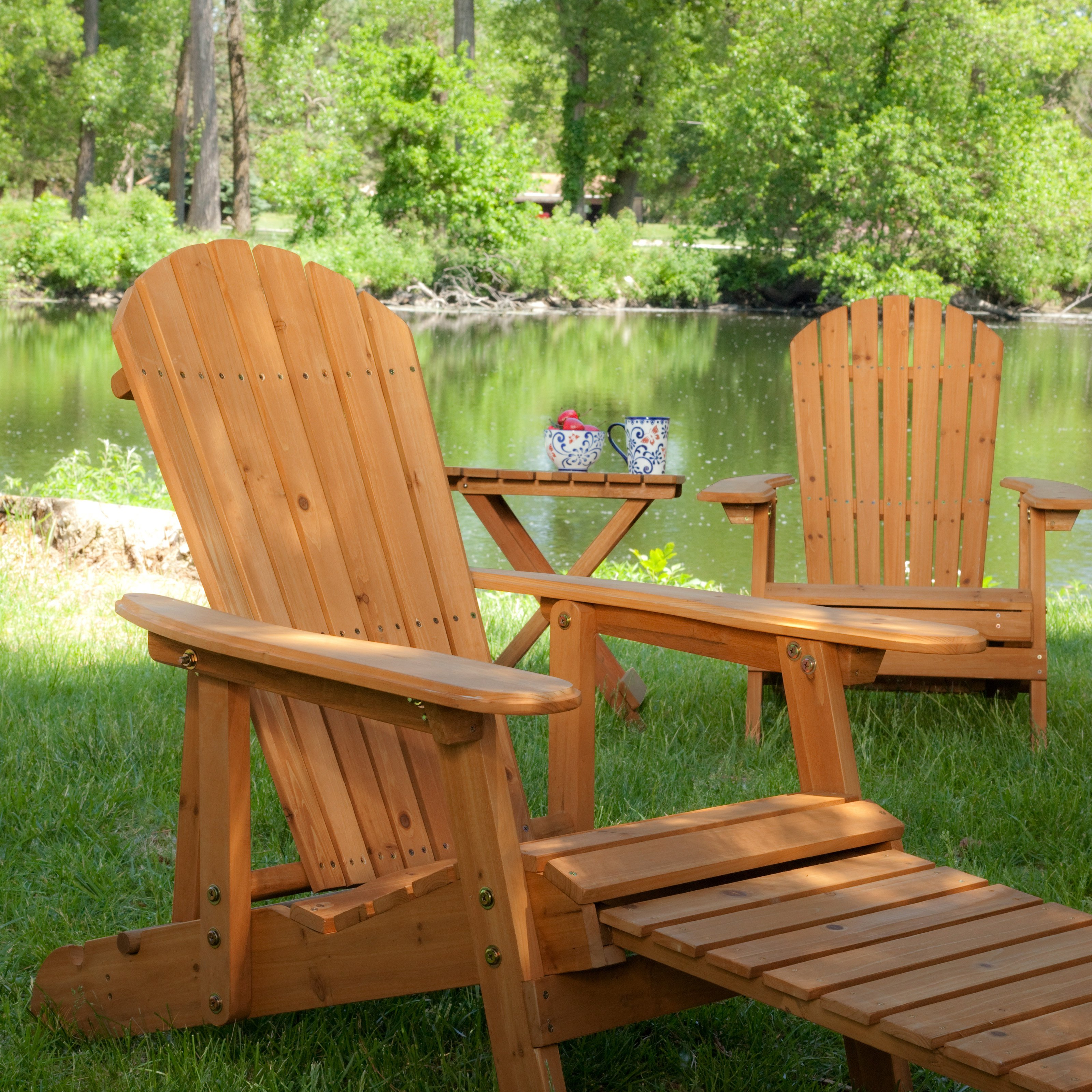 Superb Coral Coast Big Daddy Reclining Adirondack 2 Chair Set With Pull Out  Ottoman With FREE Side