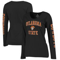 Oklahoma State Cowboys Fanatics Branded Women's Primary Distressed Arch Over Logo Long Sleeve Hit T-Shirt - Black