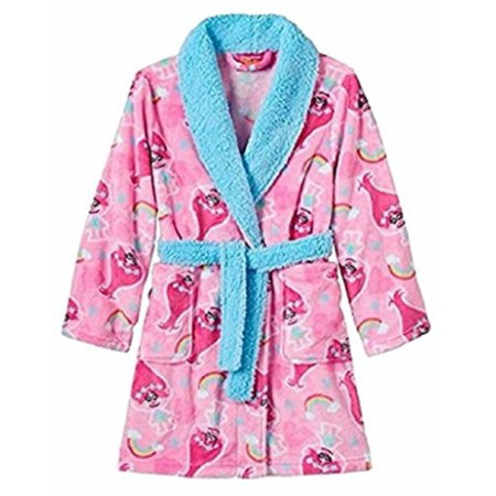 Trolls Big Girls' Luxe Plush Robe, Light Pink Fun, 8