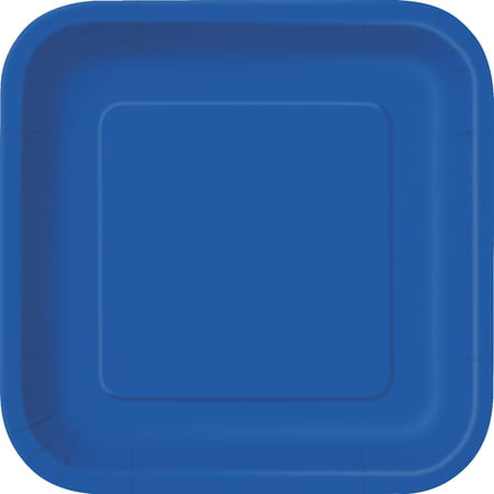 Square Paper Plates, 7 in, Royal Blue, 16ct - Paper Square Plates