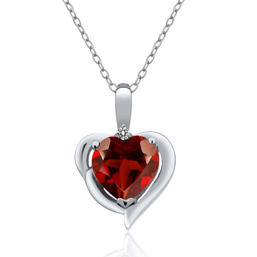 2.03 Ct Heart Shape Red Garnet White Diamond Sterling Silver Pendant