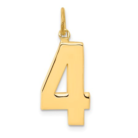 14k Yellow Gold Casted Large Number 4 Pendant Charm Necklace Sport Gifts For Women For Her