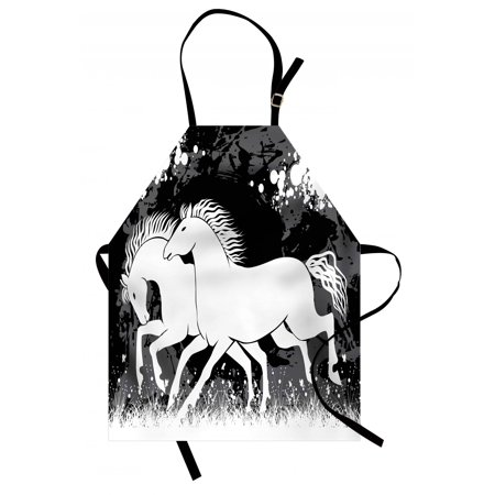 Modern Apron Antique Roman Time Gladiator Two Race Horses with Paint Marks Image Print, Unisex Kitchen Bib Apron with Adjustable Neck for Cooking Baking Gardening, Black White Grey, by