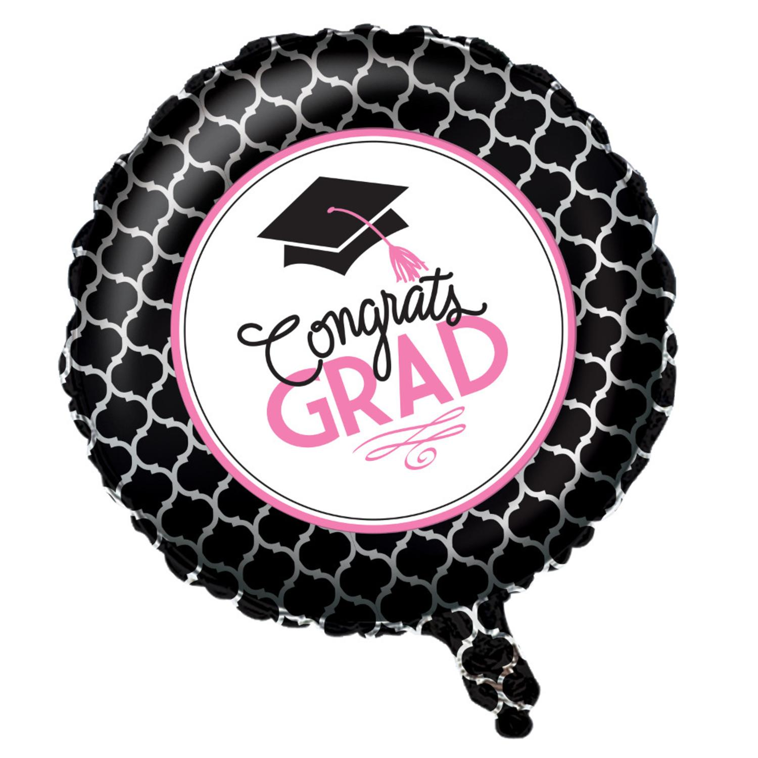 "Pack of 10 Black and Pink ""Congrats Grad"" Balloons 18"" Glamorous Grad Collection"