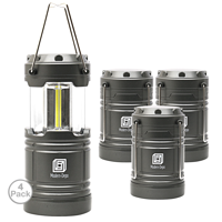 4-Pack LED Camping Lantern Battery Operated Portable Flashlights with Magnets | Collapsible Waterproof Shockproof COB LED Technology Emits 350 Lumens for Emergency Hurricane Outage (Silver)