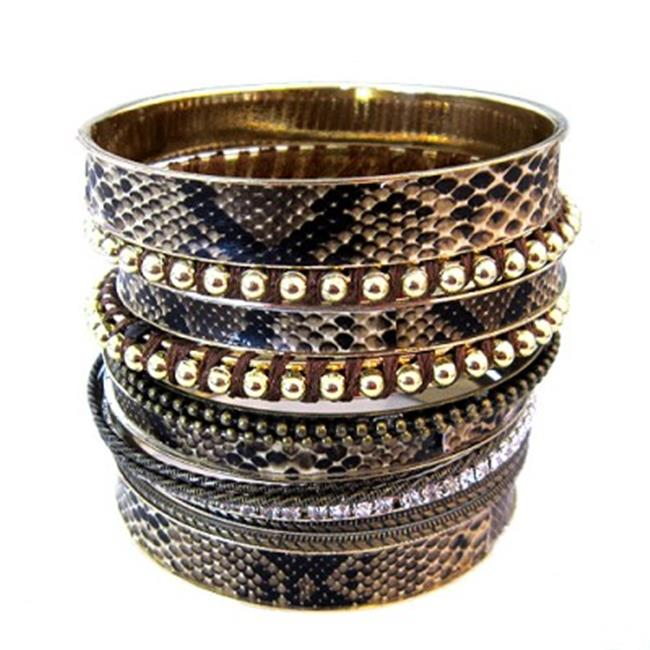 C Jewelry Brown Leather Inlays Bangles, Set Of 13 Pieces