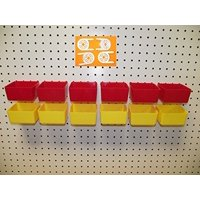 """16 PACK 1/4"""" HOLE Peg Board Workbench Bins (6) Red bins & (6) Yellow bins PLASTIC Plus (4) Tool holders FITS WOODEN PEGBOARDS (PEGBOARD NOT INCLUDED)"""