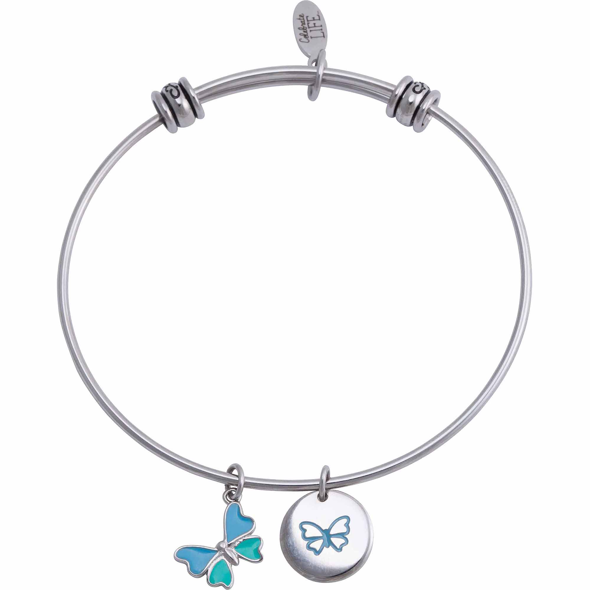 Connections from Hallmark Stainless Steel Butterfly Multi-Charm Bangle