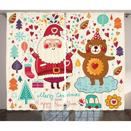 Christmas Curtains 2 Panels Set, Merry Santa and Teddy Bear Vintage Christmas Ornaments Party Kids Room Nursery Decor, Living Room Bedroom Decor, Multi, by - Teddy Bear Nursery Decor