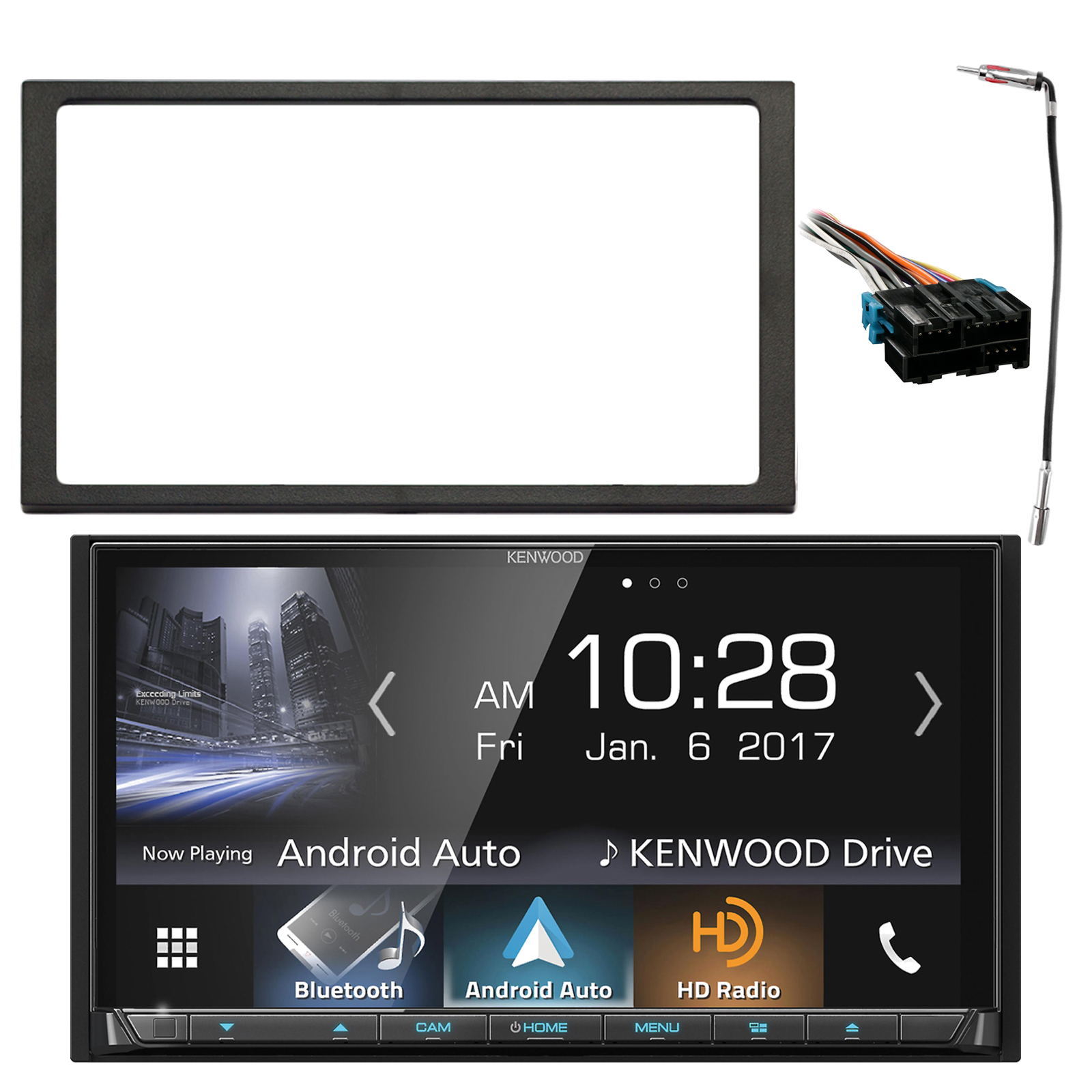 Kenwood 2-DIN In-Dash HD AM/FM Radio DVD Receiver W/ Capacitive Touch Panel, Enrock Double DIN Install Dash Kit, Metra Radio Wiring Harness, Enrock Antenna Adapter (Select 1994-2005 Vehicles)
