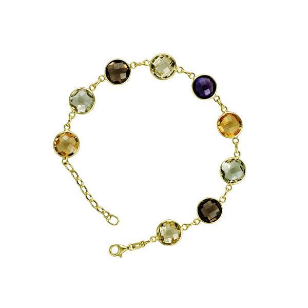 14k Yellow Gold Multi-color Stones Citrine Lemon Quartz Smoke Quartz Bracelet by