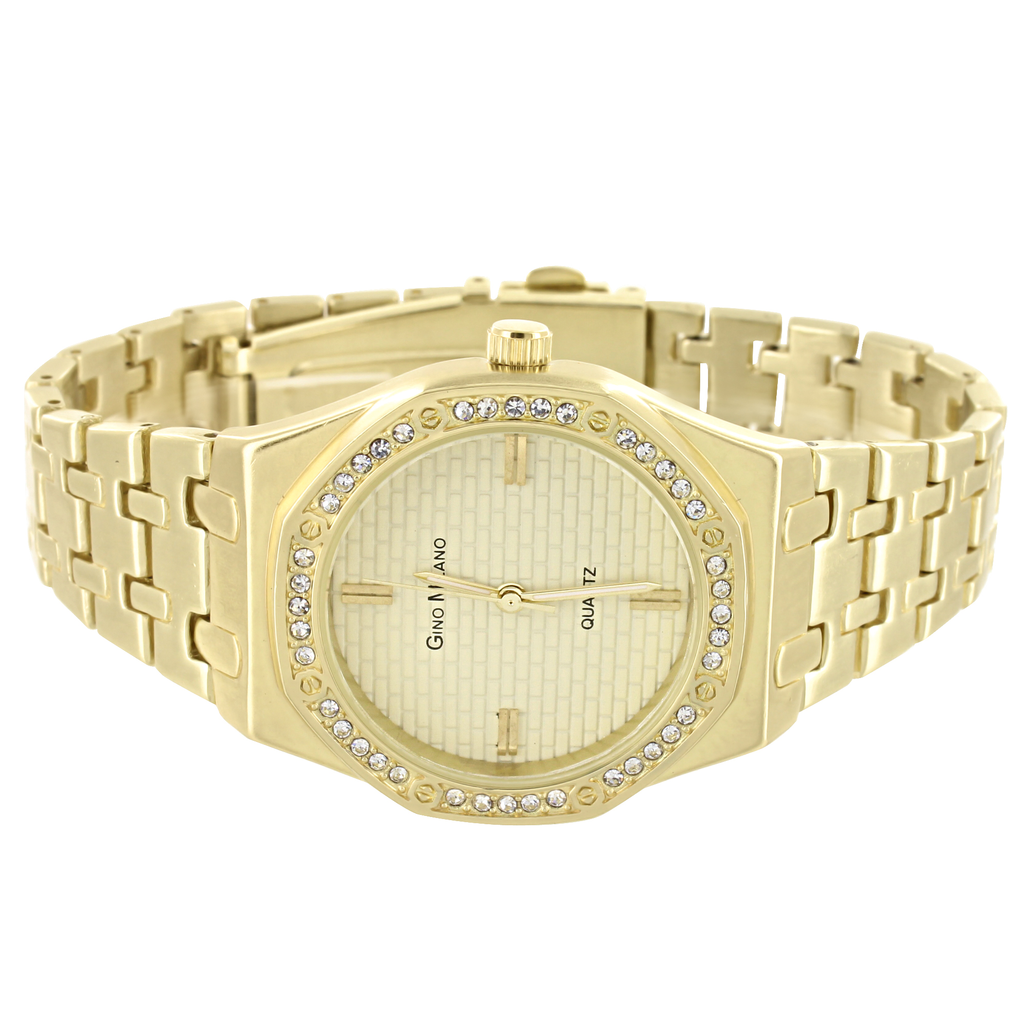 Octagon Dial Watch Gino Milano Designer Simulated Diamond Quartz Gold Tone Analog