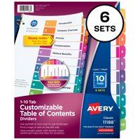 Avery Preprinted 1-10 Tab Table of Contents Dividers, 6 Sets (11188)