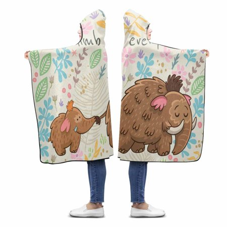 ASHLEIGH Cartoon Mammoth Climb Every Mountain Custom Hooded Blanket Throw Blanket Wearable Hooded Blanket 56x80 inch