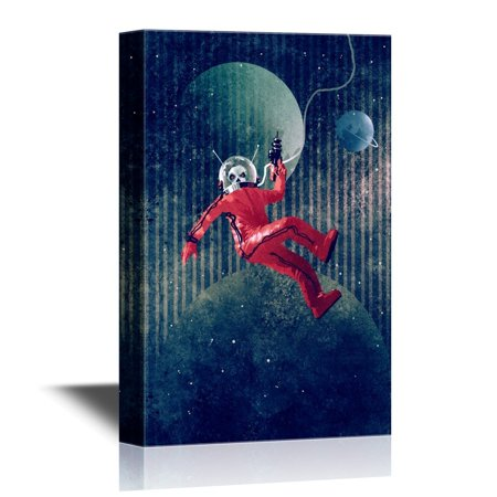 wall26 Canvas Wall Art - Space Man,Astronaut in Red Suit Holding a Gun Against the Planet Earth Background - Gallery Wrap Modern Home Decor | Ready to Hang - 32x48 inches - Guns In Space