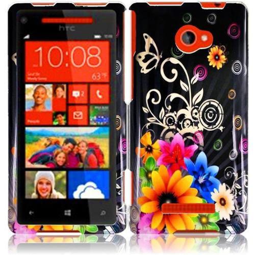 Insten For HTC Windows Phone 8X HTC 6990 HTC Zenith Design Hard Case Chromatic Flower