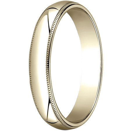 Womens 18K Yellow Gold, 4.0mm Traditional Dome Oval Wedding Band with Milgrain 18k Gold Milgrain Wedding Band