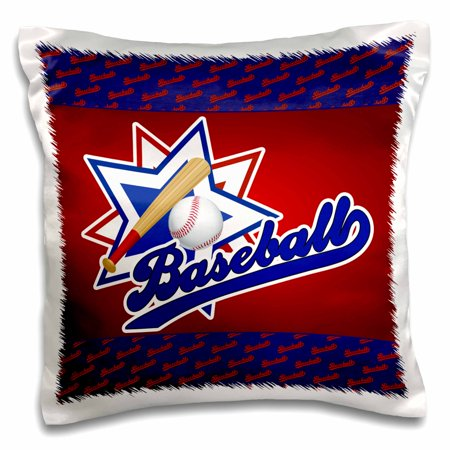3dRose Baseball theme in blue, red and white for boys and sports lovers - Pillow Case, 16 by - Sports Theme