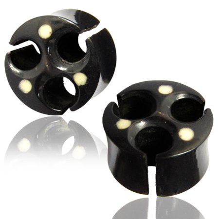 Organic Black Water Buffalo Horn Cut-Out Viking Style Two-Tone Double Flared Saddle Ear Plugs, Pair