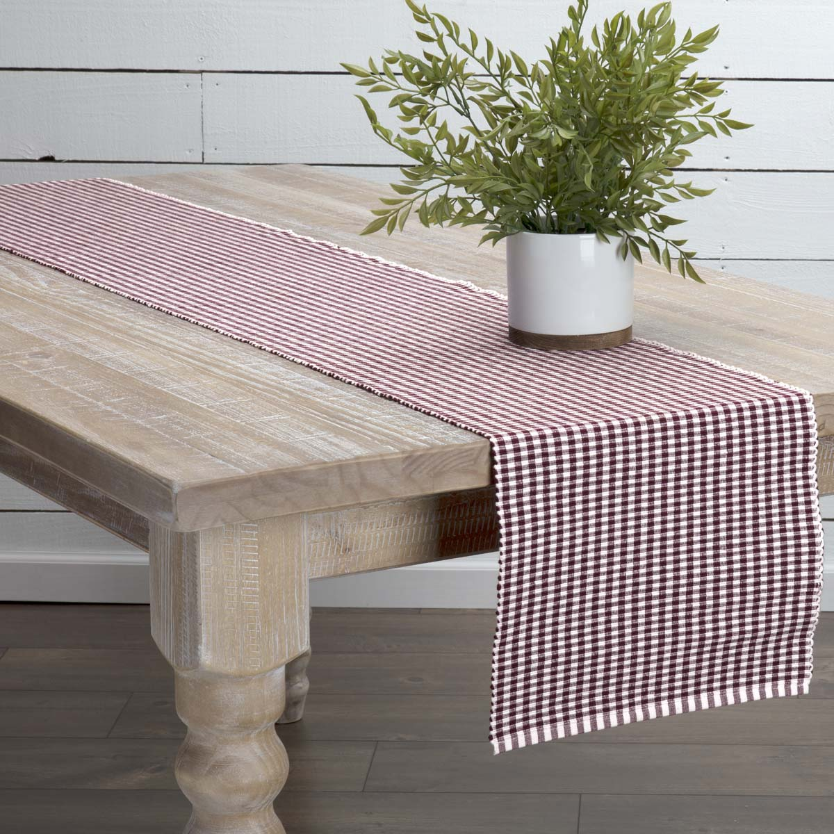 Burgundy Red Farmhouse Tabletop Kitchen Tara Cotton Plaid Rectangle 13x72 Runner