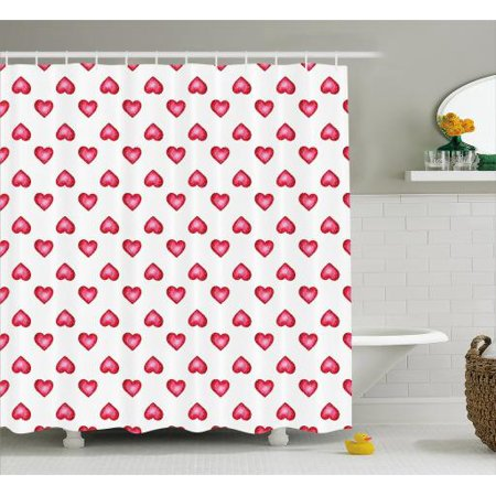Romantic Shower Curtain Valentines Day Symbol Hearts With Little Dots Lovers Celebration Theme Fabric