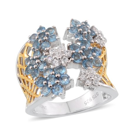 925 Sterling Silver Round Aquamarine Multi Gemstone Cluster Ring for Women Cttw