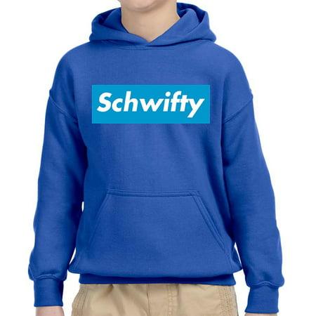 Trendy USA 858 - Youth Hoodie Schwifty Supreme Rick Morty Parody Logo Unisex Pullover Sweatshirt Medium Royal (Supreme Grey On Grey Box Logo Hoodie)