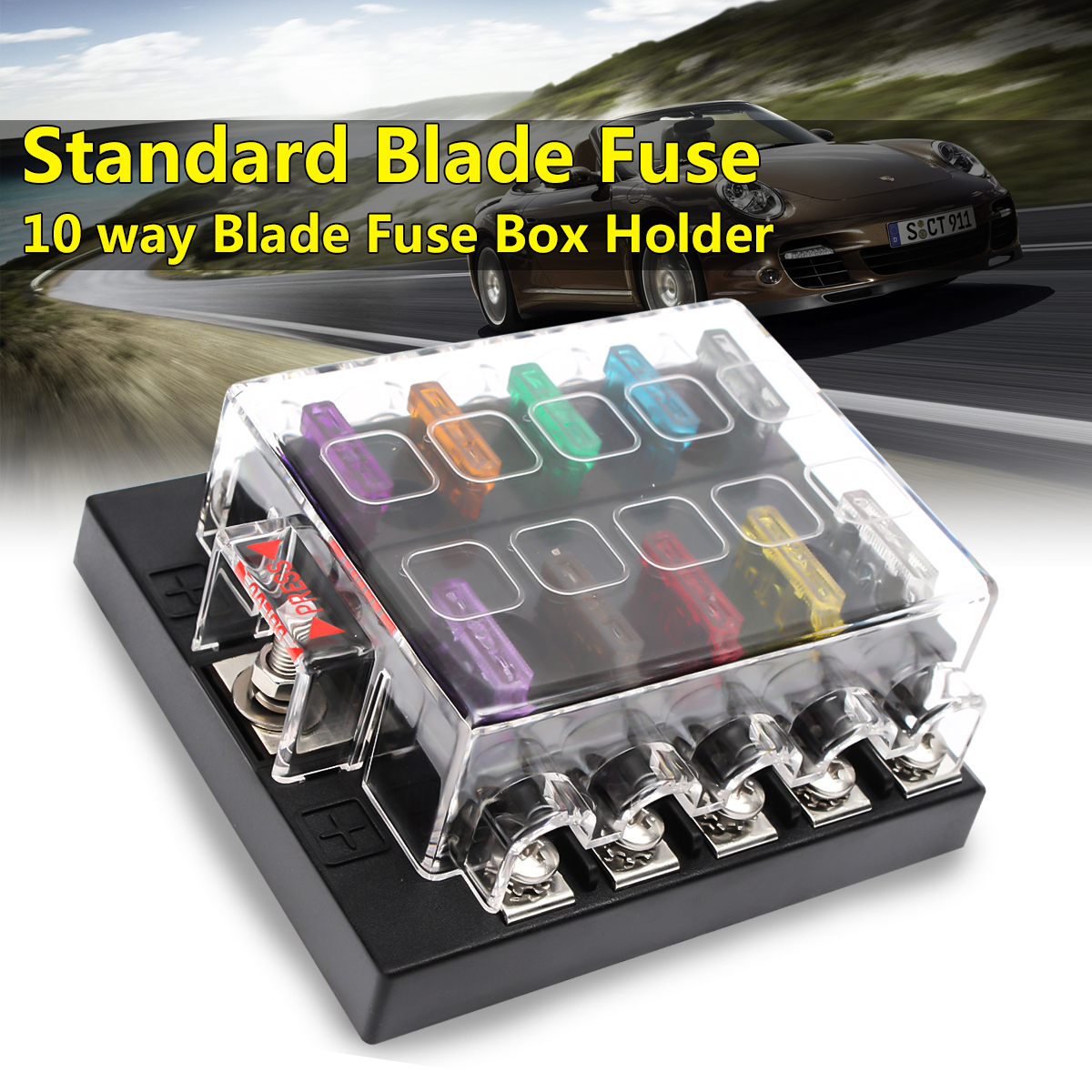 10 Way Terminals Circuit Car Boat Atc Ato Standard Blade Fuse Box Universal Automotive Block Holder