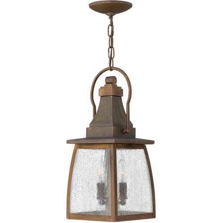 Outdoor Pendant 1 Light With Sienna Clear Seedy Glass Solid Brass Unidirectional 7 inch 100 Watts