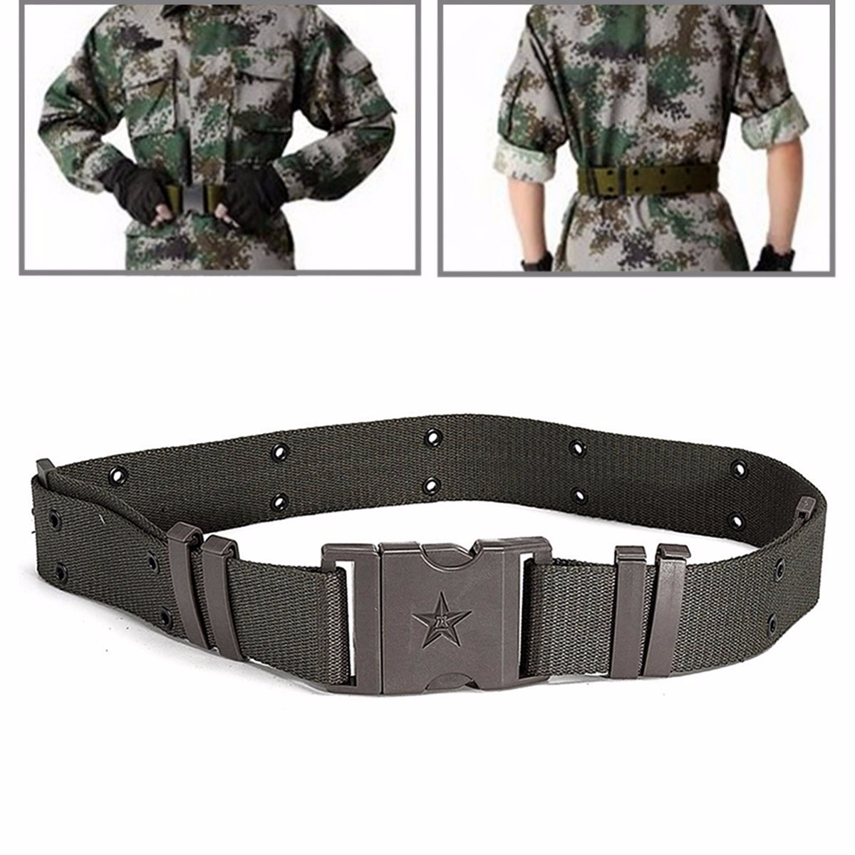 AUDEW Army Green Quick Release Security Guard Paramedic Army Police Utility Waist Belt
