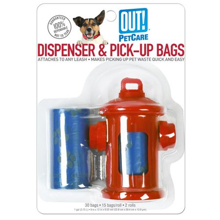 Out  Fire Hydrant Dispenser And Pick Up Bags  Red