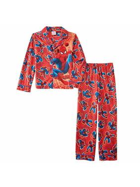 Marvel Boys Red Ultimate Spider-Man Pajamas Go Spidey Flannel Sleepwear Set