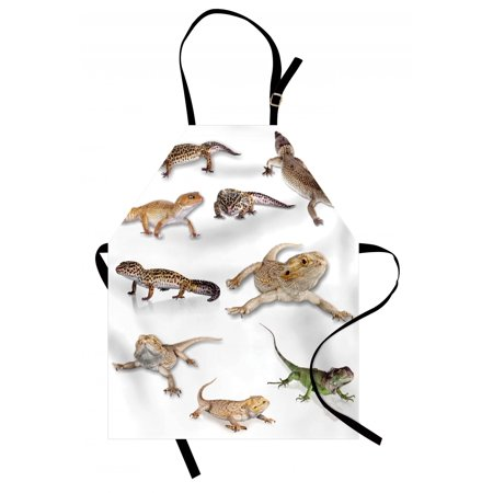 Reptile Apron Colorful Staring Leopard Gecko Family Image Primitive Reptiles Wildlife Art Print, Unisex Kitchen Bib Apron with Adjustable Neck for Cooking Baking Gardening, Multicolor, by Ambesonne ()