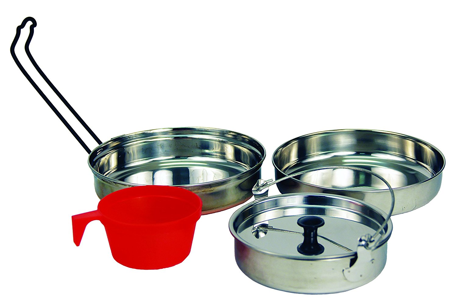 5 pc Stainless Steel Camping Cookware Outdoor Mess Kit, High Quality Polished Stainless Steel 5 Pc. Cooking... by