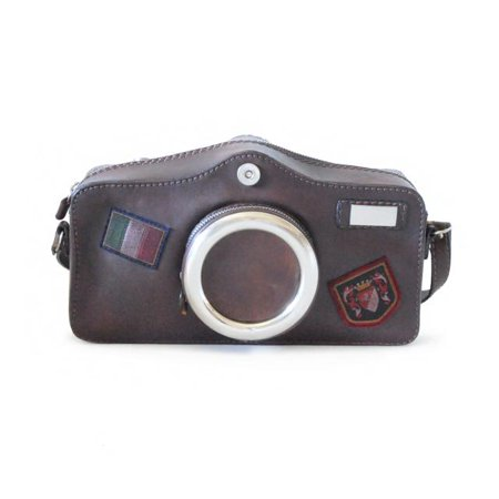 Pratesi Unisex Italian Leather Bruce Photo Camera Shaped Crossbody Shoulder Bag in Cow Leather Photo Brag Bag