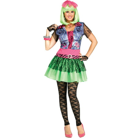 Rocking 1980'S Neon Lace Punk Rock Womens Halloween Costume-S/M](Rock N Roll Hotel Halloween)