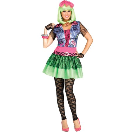 Rocking 1980'S Neon Lace Punk Rock Womens Halloween Costume-S/M](Rock City Halloween)