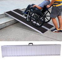 Jaxpety 6 Feet Mobility Handicap Aluminum Wheelchair Scooter Folding Portable Threshold Ramp with Handle