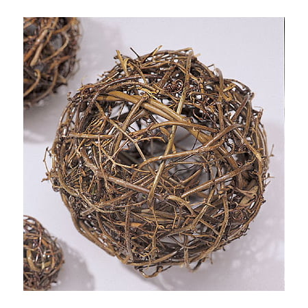 30' Single Natural - Natural Grapevine Topiary Balls 6, 8, 10, 12, 16, 18, 24, 30, 36in. sizes wire frame -- Single 24 inch ball