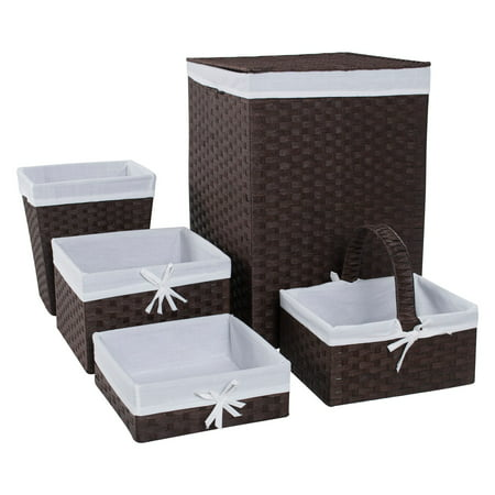 W C Redmon Five Piece Hamper and Basket Set