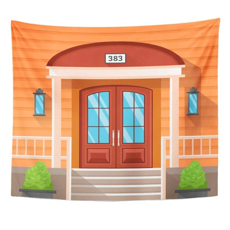 ZEALGNED Front Door House Decorated by Beige Siding Porch Wall Art Hanging Tapestry Home Decor for Living Room Bedroom Dorm 51x60 inch ()