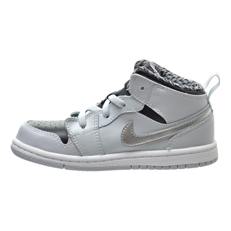 Jordan 1 Mid BT Todder's Shoes Platinum/White/Metallic Silver/Black 640735-032