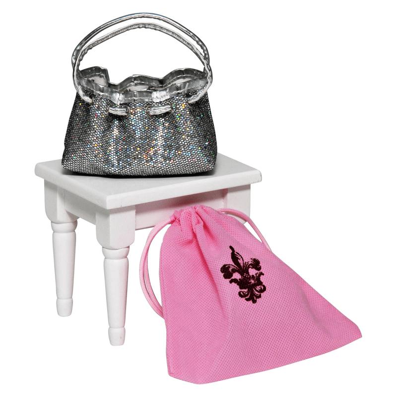 18 Inch Doll Clothes Accessories, Silver Glitter Designer Shoulder Handbag Purse