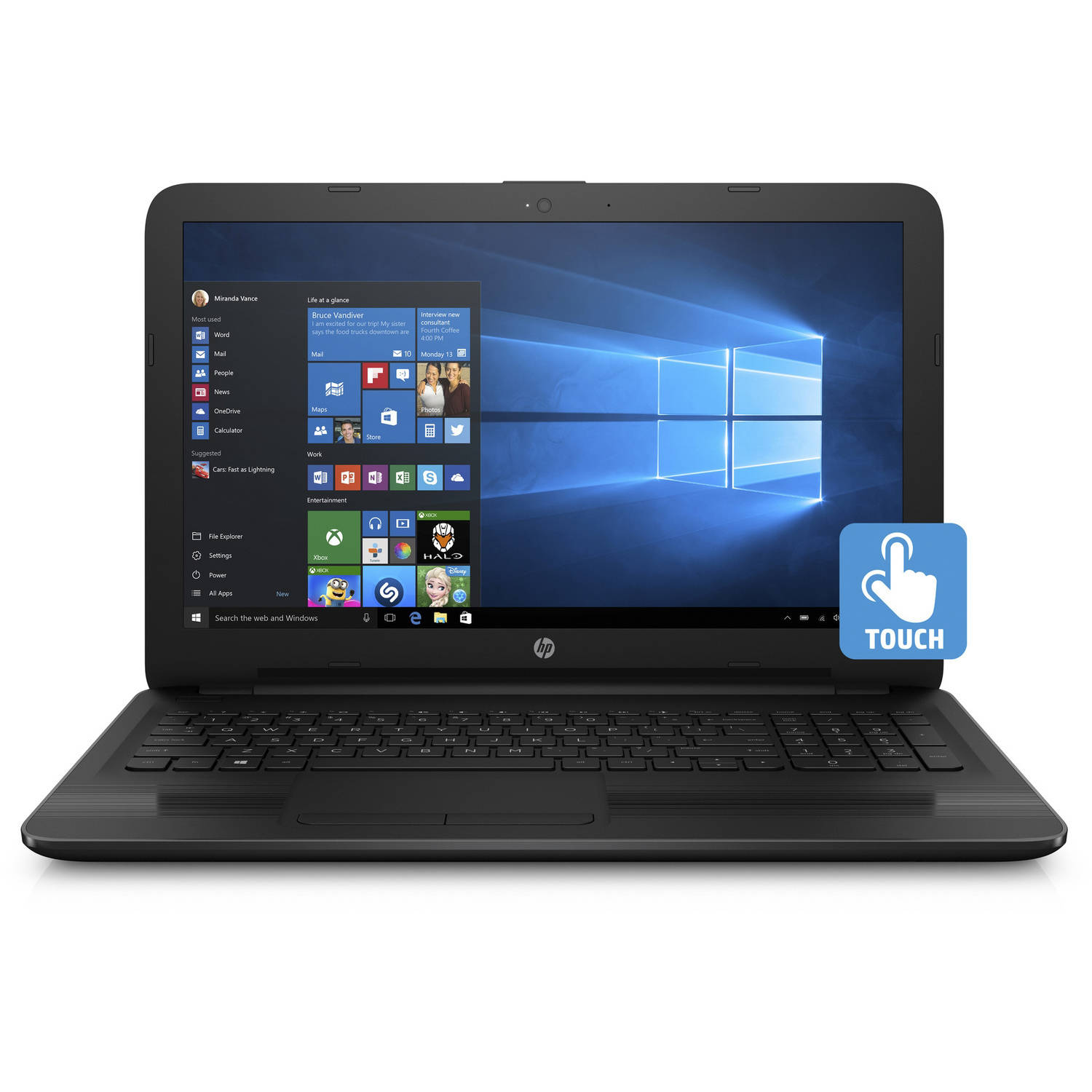Hewlett Packard HP 15 - ba043wm 15.6 Laptop, Touchscreen, Windows 10 Home, AMD A10 - 9600P APU Processor, 8GB RAM, 1TB Hard Drive