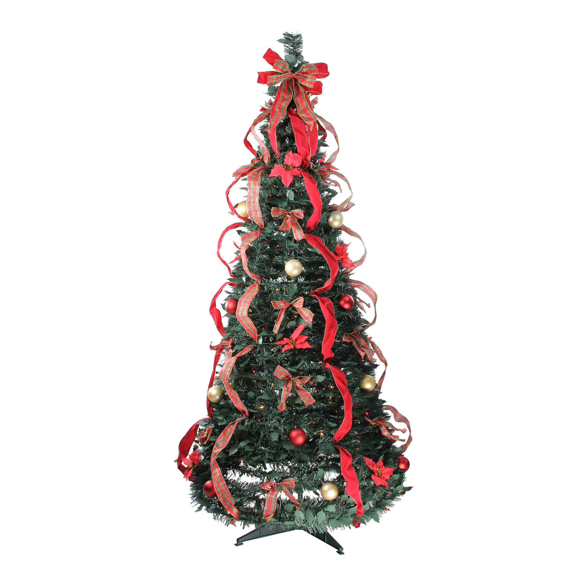Northlight 6' Prelit Artificial Christmas Tree Gold and Red Plaid Decorated Pop-Up - Multi-Color Lights