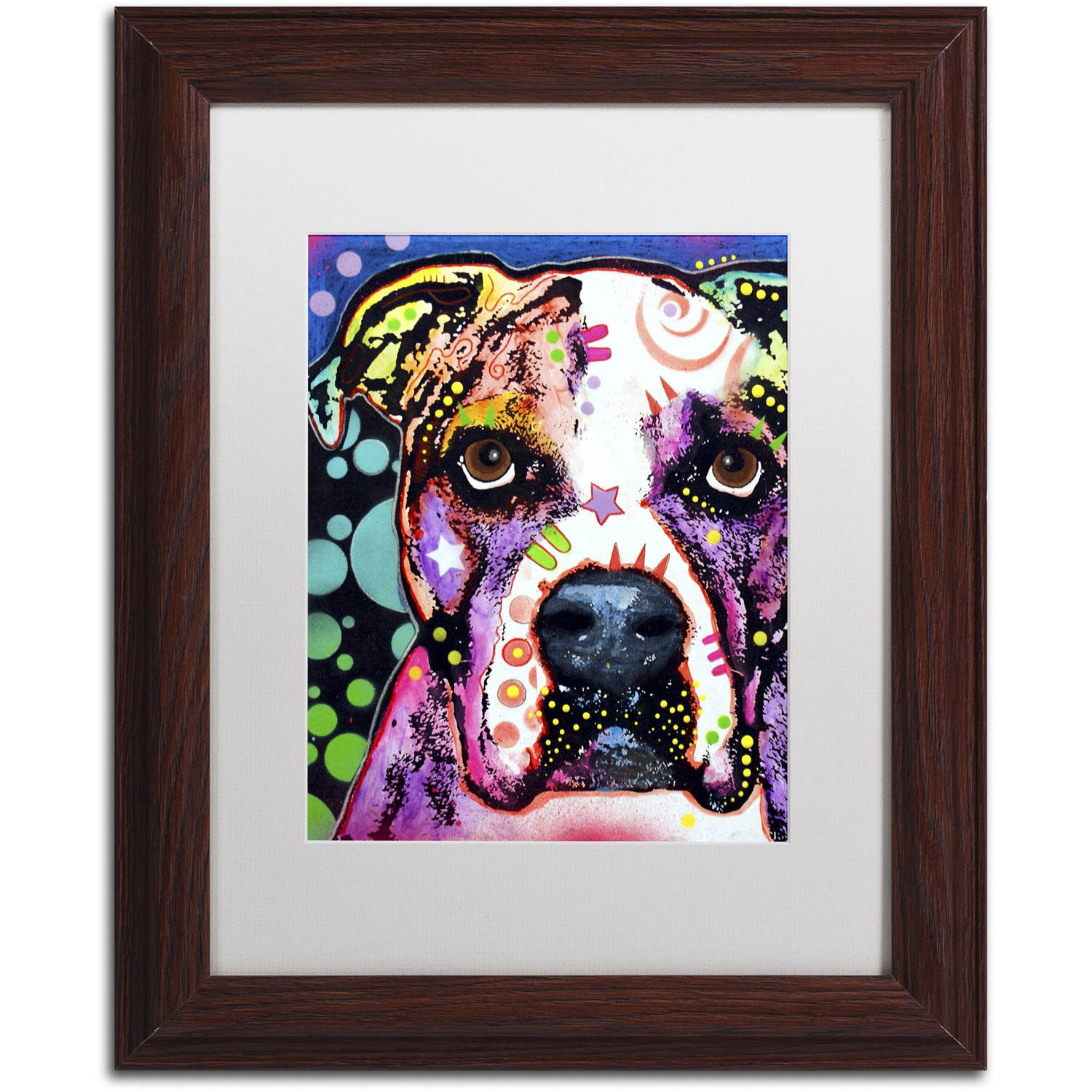 "Trademark Fine Art ""American Bulldog II"" Canvas Art by Dean Russo, White Matte, Wood Frame"