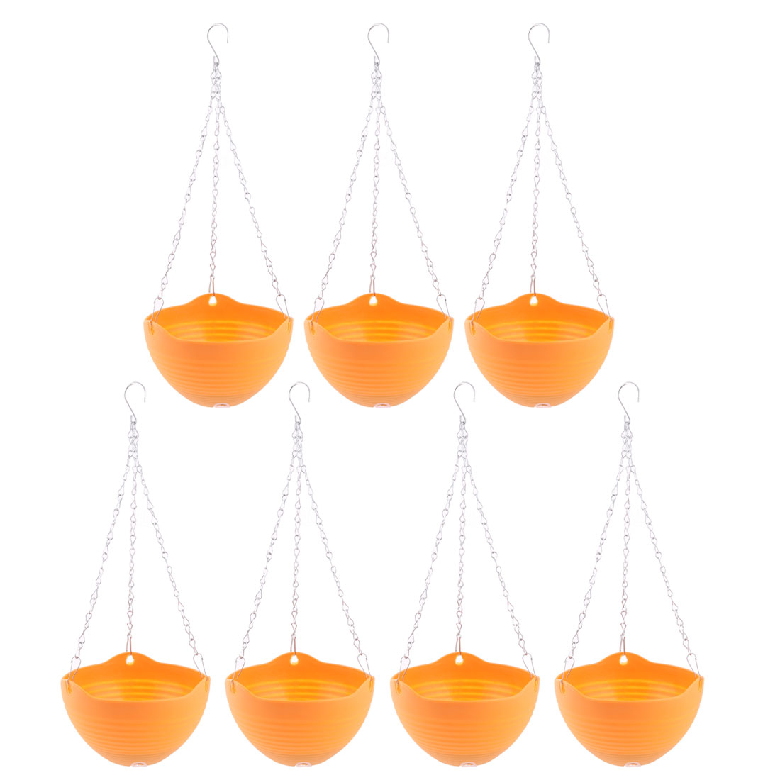 Balcony Plastic Chain Hanging Plant Flower Pot Holder Container Orange 7 Pcs