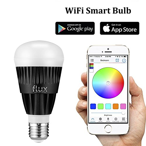 Flux WiFi Smart LED Light Bulb - Works with Alexa - Smartphone Controlled Multicolored Color Changing Lights - Dimmable Night Light - 10 Watts (70 Watts Equivalent)